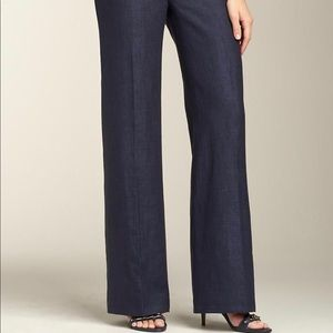 Talbots Pants - Talbots heritage wide leg navy linen pants 10p EUC